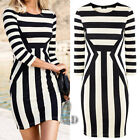 Sexy Womens Striped Bodycon Bandage Jersey Party Mini Dress AU SELLER dr025