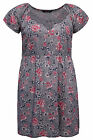 Yoursclothing Womens Plus Size Floral Print Tunic Dress With Crochet Lace Trim
