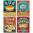 4 Vintage Hamburger Milk Shake French Fries Hot Dog Retro Art Prints 8x10 Framed