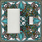 Metal Light Switch Plate Cover - Art Nouveau Stained Glass Pattern Blue Decor