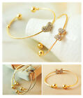 Korea Elegant Heart Bow Bracelet Wide Open Cuff Crystal Rhinestone Bangle JW035