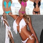 Womens Tassels Fringe Drop Push-up Halter Bikini Beach Swimsuit Swimwear