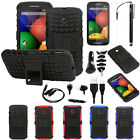 2-Layer Rugged Hybrid Armor Grip Stand Cover Case Accessory For Motorola Moto E