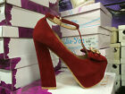Dita von Teese Style Red Suede Platform Heels with Gold Skull Detail to Front
