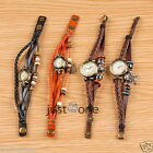 Women Classic Elegant PU Leather Strap Alloy Dial Chain Wristwatch Retro Style