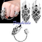 Men's Punk Rock Knuckle Armour Full Finger Double Joint Crystal Lengthen Ring FB