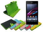 Leather Wallet Case Stand with Inner TPU Soft for Sony Xperia Z1