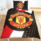 MAN UTD SINGLE BED DUVET QUILT COVER SET STRIPE CREST MANCHESTER UNITED MUFC