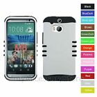 For HTC One M8 White Matte Finish Hybrid Rugged Impact Armor Phone Case Cover
