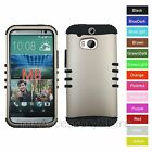 For HTC One M8 Champagne Gold Hybrid Rugged Impact Armor Phone Case Cover