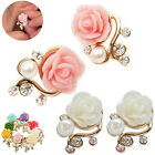 Women Korean Style Pink Rose Flower Shiny Crystal Rhinestone Pearl Stud Earrings