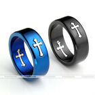1pc Mens Unisex Blue Black Stainless Steel Gothic Cross Band Finger Ring Gift