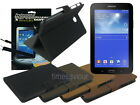 Suede Leather Case+Screen Protector+Cleaner for Samsung Galaxy Tab 3 Lite 7.0