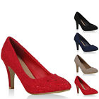 Damen Pumps Spitze Strass Feminine High Heels Schuhe 72749 New Look