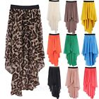 Chiffon Mullet Asymmetrical Long Skirt Elastic Waistband Short-Long Skirts sz S