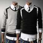 FAD Mens Premium Stylish Slim Fit V-neck Sweater Jumper Tops Cardigan UKLO