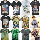 Men Women's 3D Cool Fearful Skull Green Plant Round Top Tee Funny T-shirt