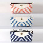 Canvas Stationery Pen Pencil Case Phone Coin Purse Cosmetic Bag Pouch Navy Style