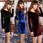 2014 New Women Girl Fashion Velvet Long Sleeve Slim Bottoming Winter Mini Dress