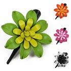 """Handmade"" Leather Flower Barrette Hair Clip Bow 2 Tone Gerbera fha1"