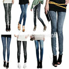 Fashion Women's Footless Skinny Denim Jeans Look Leggings Jeggings Printed Pants