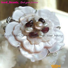 New Natural Shell Carved Flower Fresh Water Pearl Clasp Jewelry Making Findings