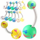 Belly steel button rings navel bars piercings jewellery 9HGO-SELECT SIZE&STYLE