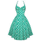 Hell Bunny Meriam Green Polka Dot Vintage 50s Rockabilly Pinup Swing Prom Dress