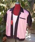 Hand Made 1950's Style Mens Rockabilly Bowling Shirt Black & Pink