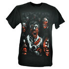 Zombie Horror Scary Monster Face Skeleton Mens Black Tshirt Dead Tee Creepy