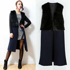 New Women's Fashion Navy Faux Fur Long Vest Sleeveless Woolen Coat Outwear