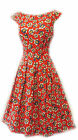 Rosa Rosa Red White Blue Ditsy Floral WWII 1930's/40's Vtg Land Girl Tea Dress