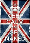 KC6 Vintage Style Union Jack Keep Calm And Get Naked Funny Poster Print A2/A3/A4