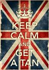 KCV13 Vintage Style Union Jack Keep Calm Get A Tan Funny Poster Print A2/A3/A4