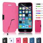 MAGNETIC LEATHER FLIP FOLIO CASE COVER FOR IPHONE 5C FREE SCREEN PROTECTO