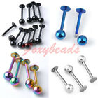 10pcs Stainless Steel Lip Chin Labret Ring Bar Stud Ball Body Piercing Colors