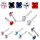 "1x 20g Stainless Steel 3mm Square CZ Gems Nose Bone Ring Stud 1/4"" Body Piercing"
