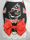 DOG CAT FERRET Harness~Tampa Bay NFL Team BUCCANEERS Cheerleader RED Bow & Lace