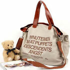 Unisex Women Mens Casual Letters Canvas Bag Shoulder Leisure Tote Handbag New
