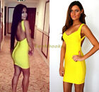 UK Stock £100 Celeb Boutique Yellow Backless Party Cocktail Slim Bandage Dress