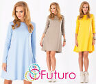 ☼ Women's Coctail Shift Dress ☼ Long Sleeve Tunic Crew Neck Top Sizes 8-16 FA323