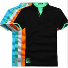 Mens Short Sleeve Slim Fit Polo Shirt Tops Designed V-neck Casual T-shirts Tee