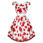 Hearts & Roses London Bianca Rose White Floral Vintage 1950S Party Prom Dress