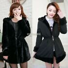 Women Coat Faux Fur Hoodied Jacket Long Sleeve Black Warm Pop Reversible K0E1