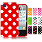 Polka Dots Silicone Rubber Soft Case Cover Skin for iPhone 4 4S Screen Protector