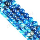 Blue Striped Agate Gemstone Round Loose Spacer Beads 16'' Strand 4 6 8 10 12mm