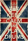 KCV29 Vintage Style Union Jack Keep Calm Play Drums Funny Poster Print A2/A3/A4