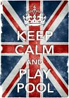 KC26 Vintage Style Union Jack Keep Calm Play Pool Funny Poster Print A2/A3/A4