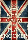 KCV24 Vintage Union Jack Keep Calm Play Snooker Funny Poster Print A2/A3/A4