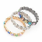 Stackable Bangle Hinged Bracelet Multi Color Emerald Cut Crystals White/ Gold GP